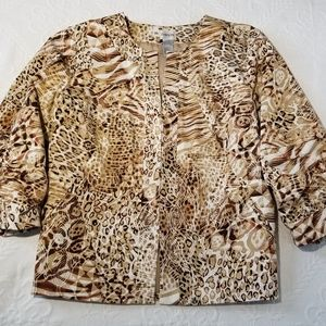 CHICO'S Animal Print Jacket Size L/12